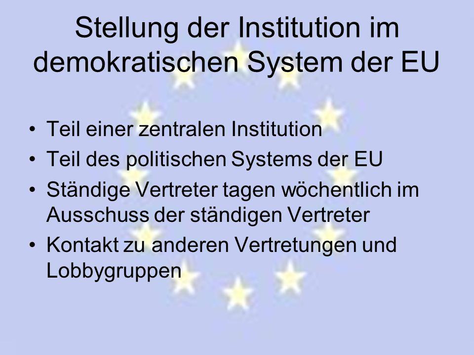 Stellung der Institution im demokratischen System der EU Teil einer zentralen Institution Teil des politischen Systems der EU Ständige Vertreter tagen