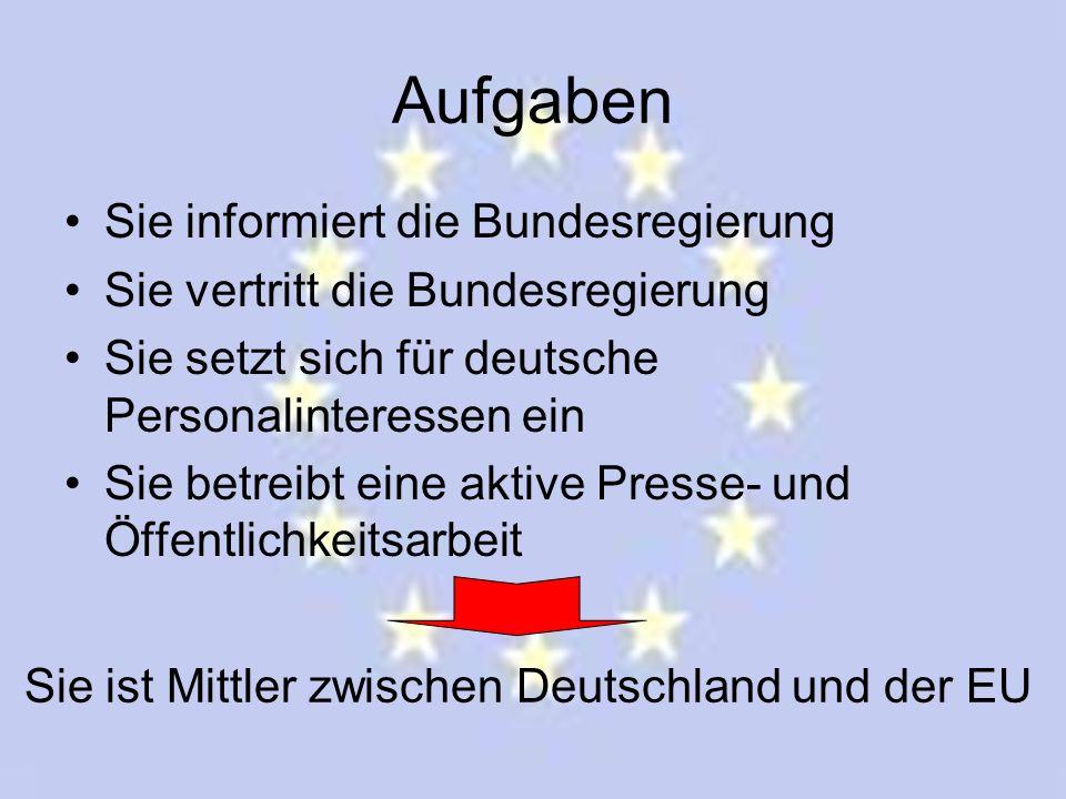 Aufgaben Sie informiert die Bundesregierung Sie vertritt die Bundesregierung Sie setzt sich für deutsche Personalinteressen ein Sie betreibt eine akti