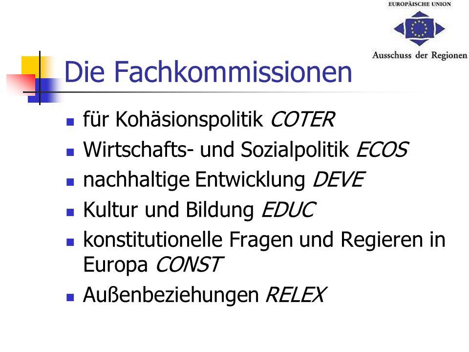 Die Fachkommissionen für Kohäsionspolitik COTER Wirtschafts- und Sozialpolitik ECOS nachhaltige Entwicklung DEVE Kultur und Bildung EDUC konstitutione