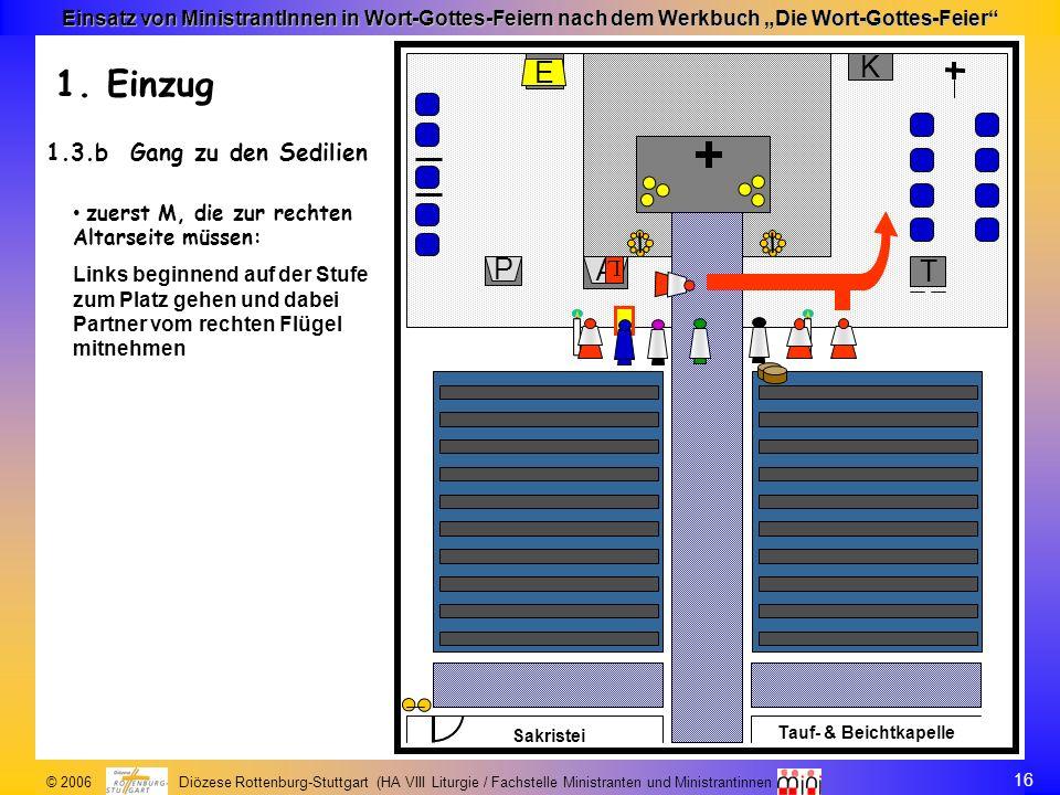 16 © 2006 Diözese Rottenburg-Stuttgart (HA VIII Liturgie / Fachstelle Ministranten und Ministrantinnen Einsatz von MinistrantInnen in Wort-Gottes-Feie