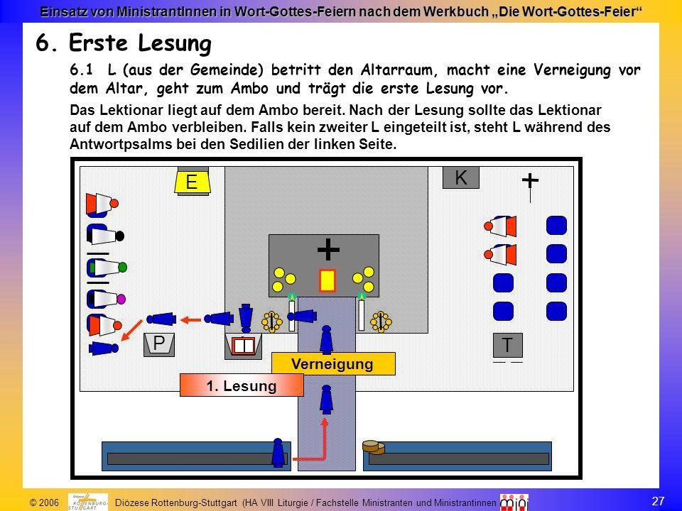 27 © 2006 Diözese Rottenburg-Stuttgart (HA VIII Liturgie / Fachstelle Ministranten und Ministrantinnen Einsatz von MinistrantInnen in Wort-Gottes-Feie