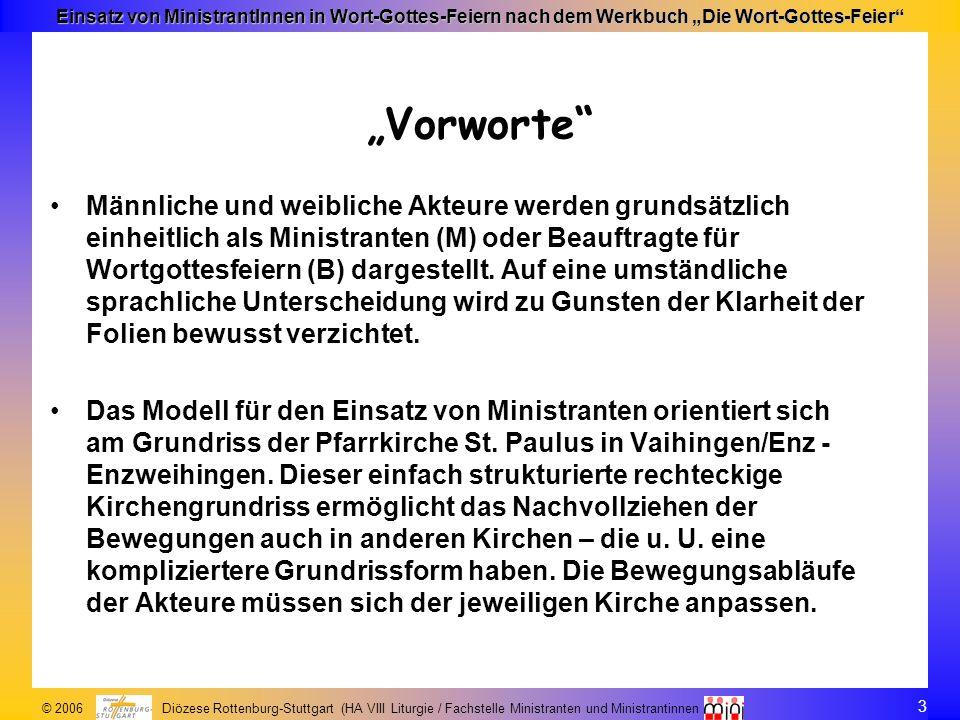 3 © 2006 Diözese Rottenburg-Stuttgart (HA VIII Liturgie / Fachstelle Ministranten und Ministrantinnen Einsatz von MinistrantInnen in Wort-Gottes-Feier