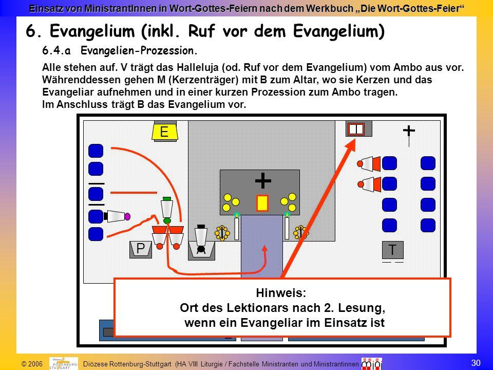 30 © 2006 Diözese Rottenburg-Stuttgart (HA VIII Liturgie / Fachstelle Ministranten und Ministrantinnen Einsatz von MinistrantInnen in Wort-Gottes-Feie