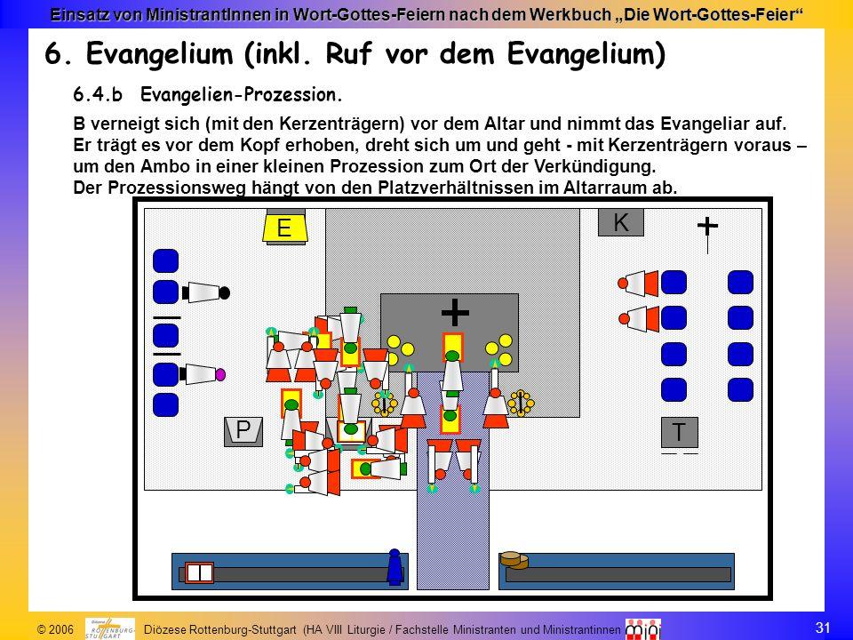 31 © 2006 Diözese Rottenburg-Stuttgart (HA VIII Liturgie / Fachstelle Ministranten und Ministrantinnen Einsatz von MinistrantInnen in Wort-Gottes-Feie