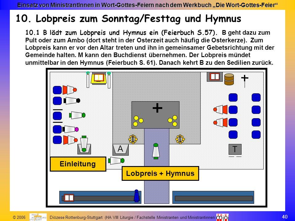 40 © 2006 Diözese Rottenburg-Stuttgart (HA VIII Liturgie / Fachstelle Ministranten und Ministrantinnen Einsatz von MinistrantInnen in Wort-Gottes-Feie