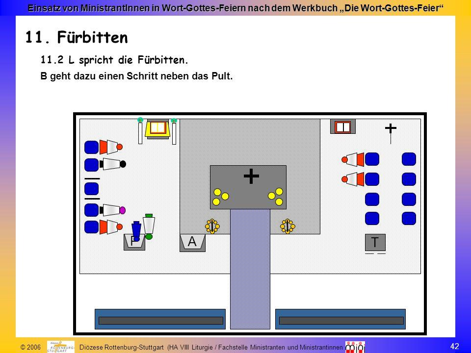 42 © 2006 Diözese Rottenburg-Stuttgart (HA VIII Liturgie / Fachstelle Ministranten und Ministrantinnen Einsatz von MinistrantInnen in Wort-Gottes-Feie