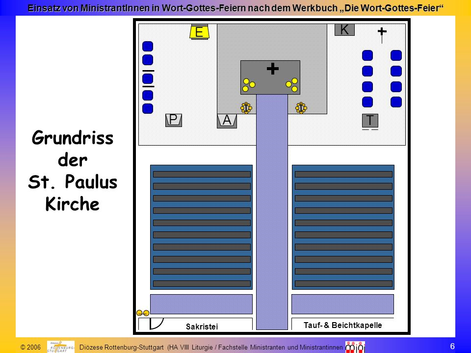 7 © 2006 Diözese Rottenburg-Stuttgart (HA VIII Liturgie / Fachstelle Ministranten und Ministrantinnen Einsatz von MinistrantInnen in Wort-Gottes-Feiern nach dem Werkbuch Die Wort-Gottes-Feier Ausstattung der St.