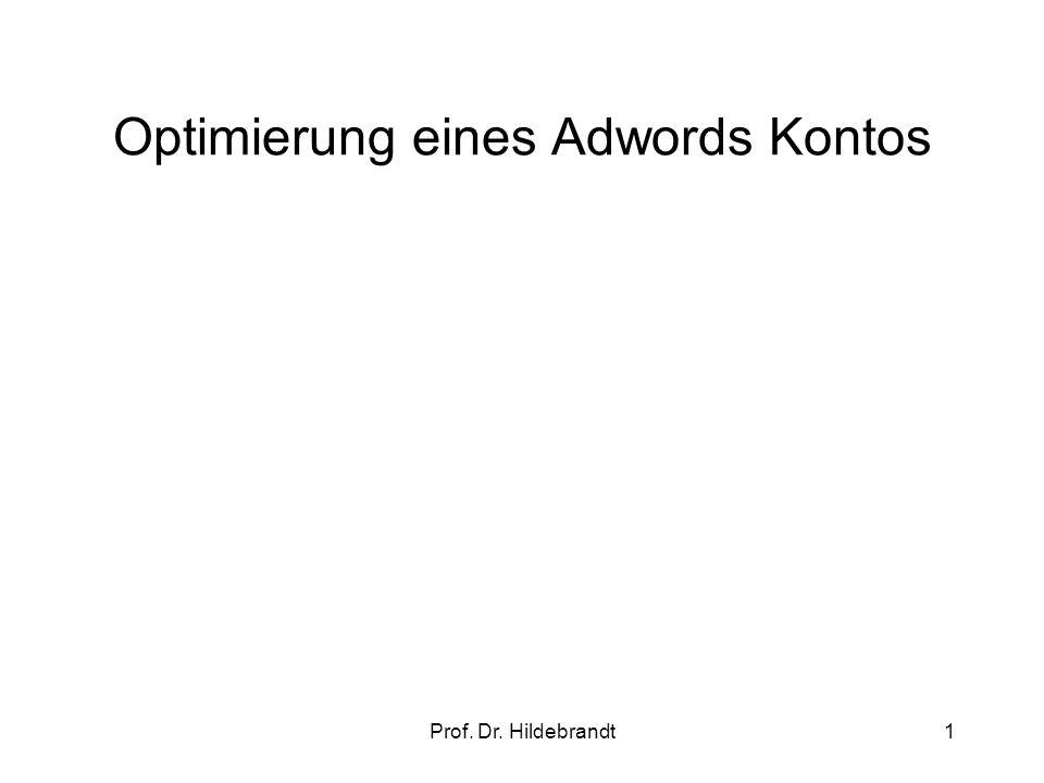 Prof. Dr. Hildebrandt1 Optimierung eines Adwords Kontos