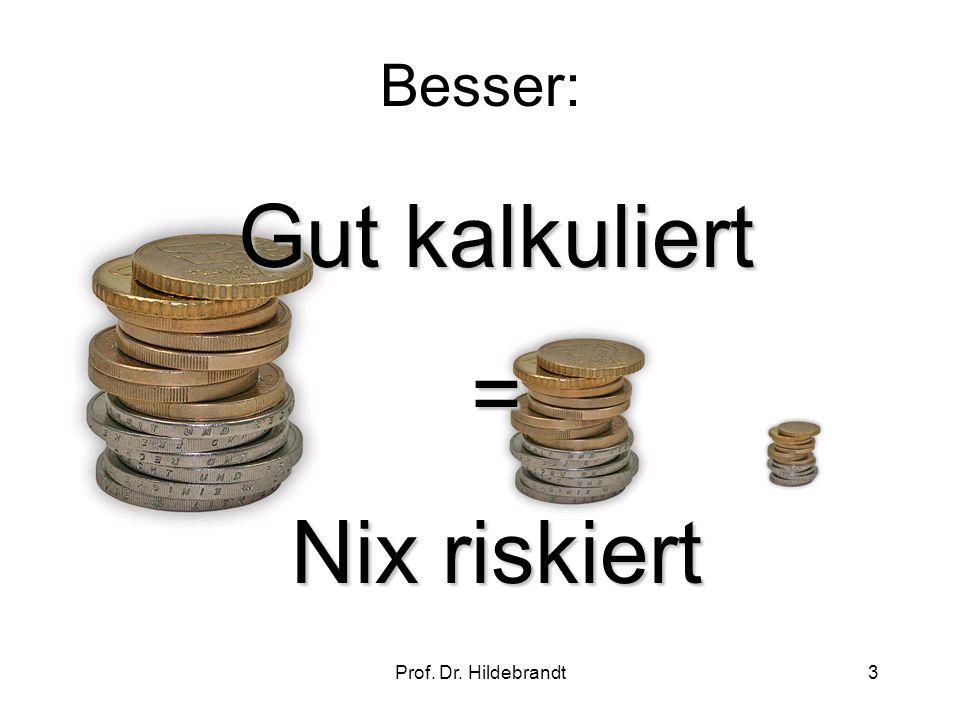Prof. Dr. Hildebrandt3 Besser: Gut kalkuliert = Nix riskiert