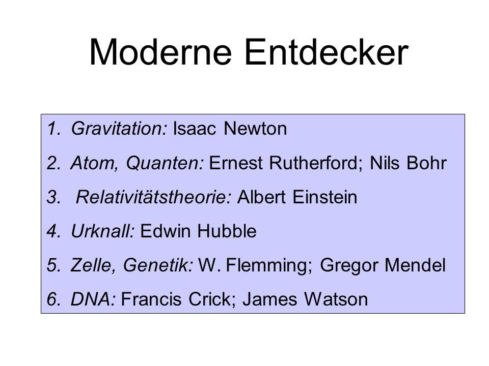 Moderne Entdecker 1.Gravitation: Isaac Newton 2.Atom, Quanten: Ernest Rutherford; Nils Bohr 3. Relativitätstheorie: Albert Einstein 4.Urknall: Edwin H