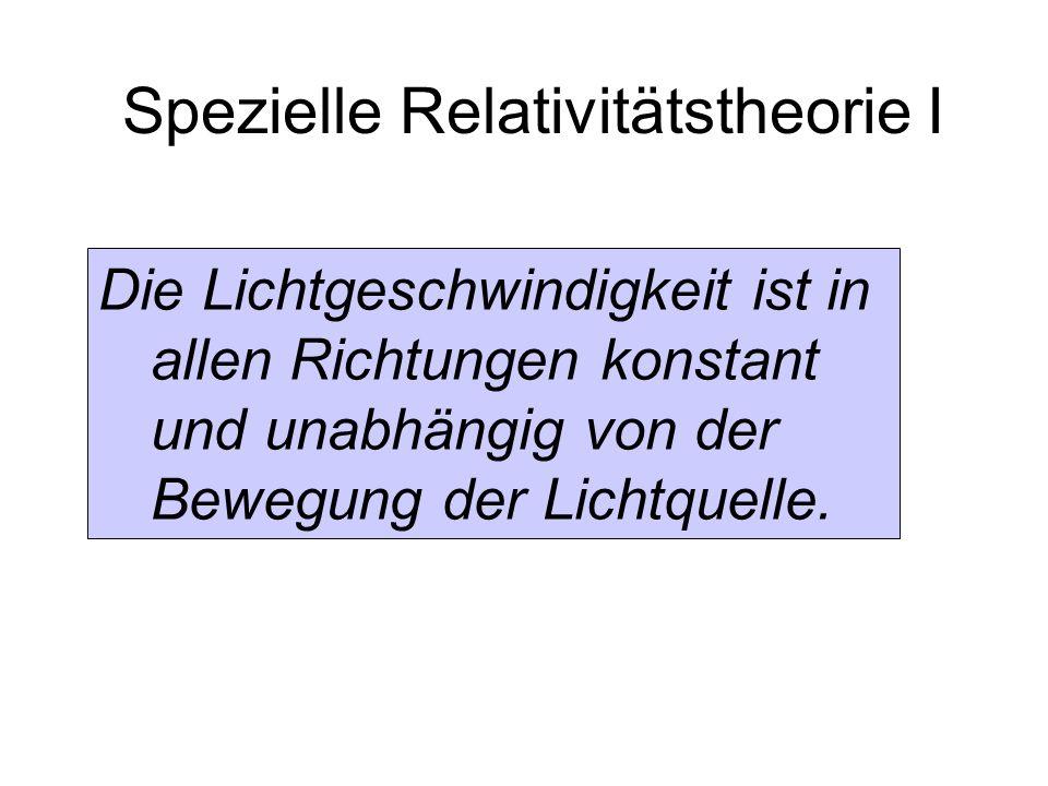 Spezielle Relativitätstheorie I Die Lichtgeschwindigkeit ist in allen Richtungen konstant und unabhängig von der Bewegung der Lichtquelle.