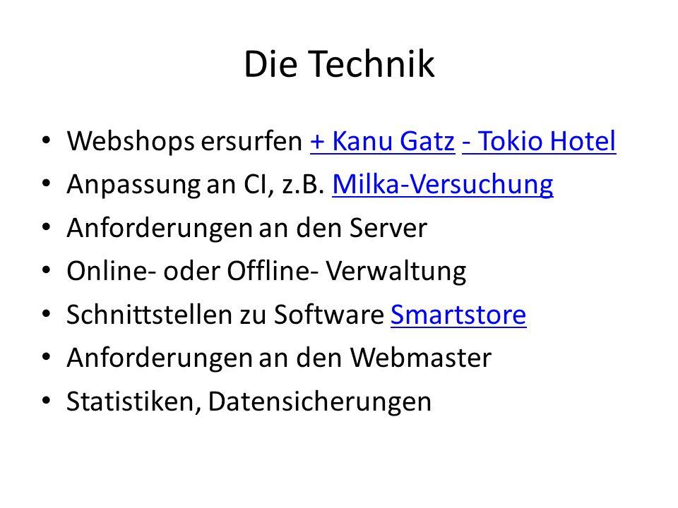 Die Technik Webshops ersurfen + Kanu Gatz - Tokio Hotel+ Kanu Gatz- Tokio Hotel Anpassung an CI, z.B.