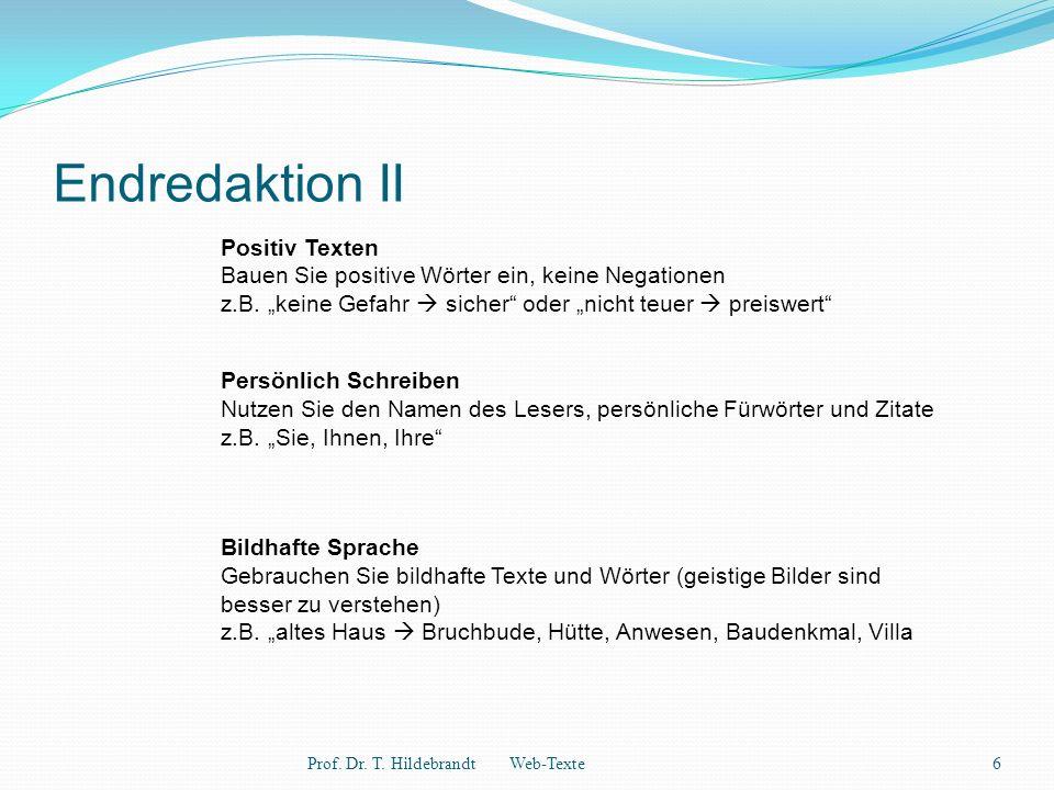 Endredaktion III Prof.Dr. T.