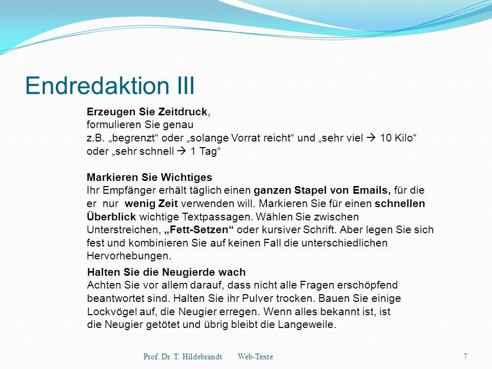 Endredaktion III Prof. Dr. T.