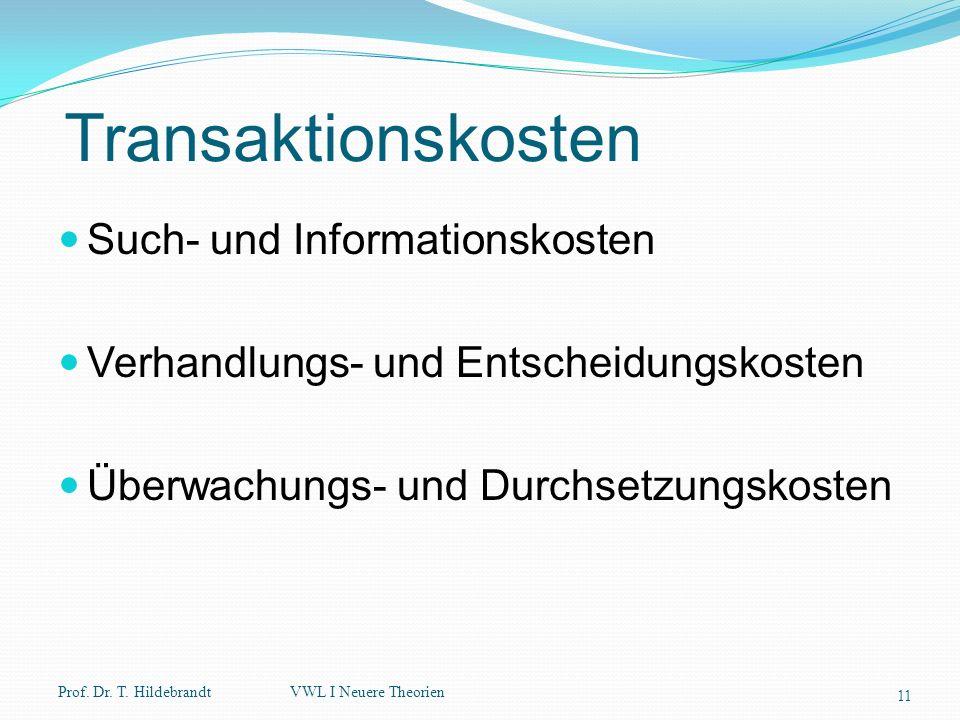 Transaktionskosten Such- und Informationskosten Verhandlungs- und Entscheidungskosten Überwachungs- und Durchsetzungskosten Prof. Dr. T. Hildebrandt 1