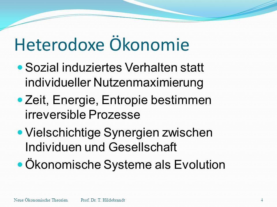 Heterodoxe Ökonomie Sozial induziertes Verhalten statt individueller Nutzenmaximierung Zeit, Energie, Entropie bestimmen irreversible Prozesse Vielsch