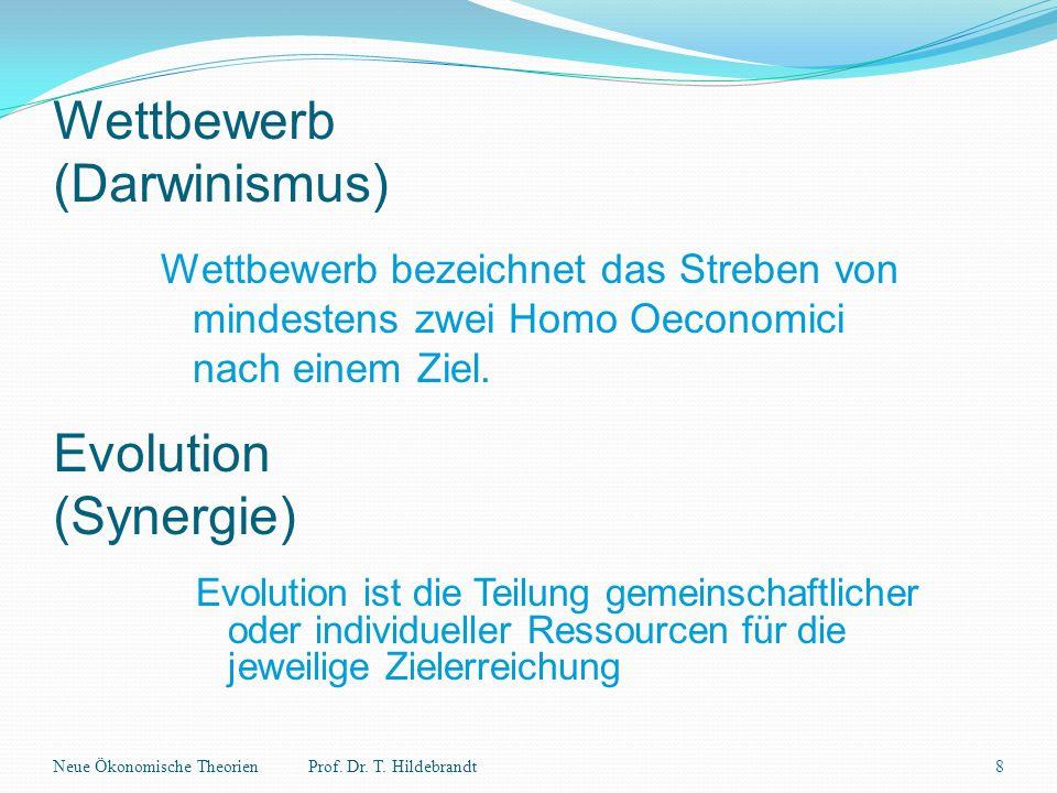 Wettbewerb (Darwinismus) Wettbewerb bezeichnet das Streben von mindestens zwei Homo Oeconomici nach einem Ziel. Neue Ökonomische Theorien8Prof. Dr. T.