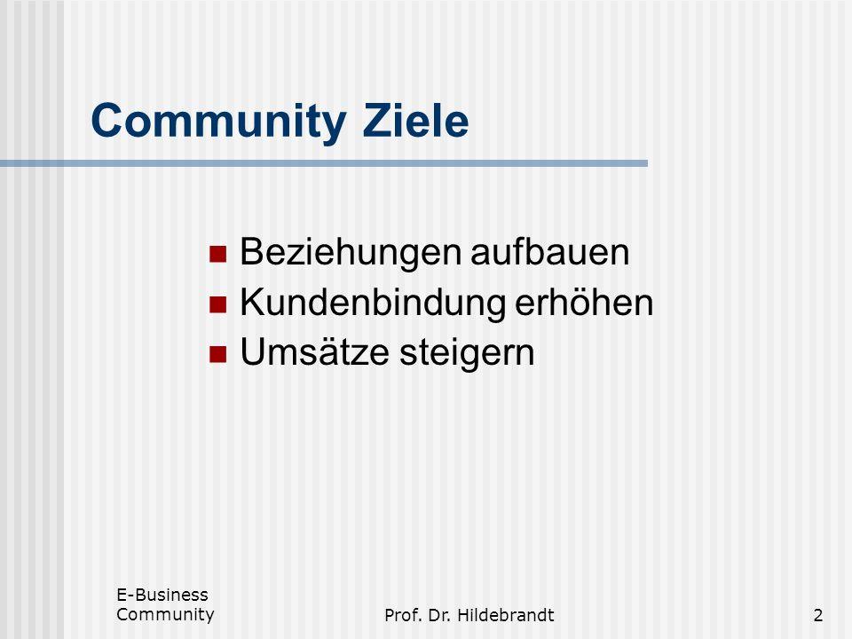 E-Business CommunityProf. Dr. Hildebrandt2 Community Ziele Beziehungen aufbauen Kundenbindung erhöhen Umsätze steigern