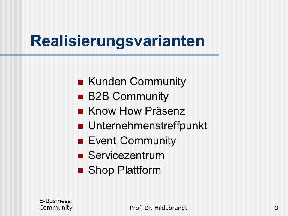E-Business CommunityProf. Dr. Hildebrandt3 Realisierungsvarianten Kunden Community B2B Community Know How Präsenz Unternehmenstreffpunkt Event Communi