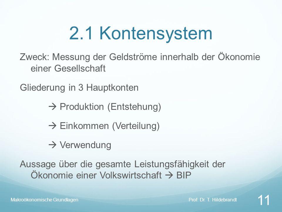 2.1 Kontensystem Zweck: Messung der Geldströme innerhalb der Ökonomie einer Gesellschaft Gliederung in 3 Hauptkonten Produktion (Entstehung) Einkommen