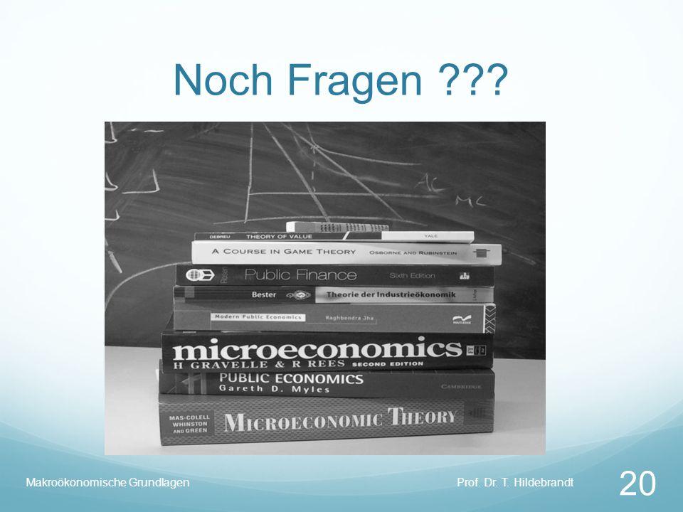Noch Fragen ??? Prof. Dr. T. Hildebrandt 20 Makroökonomische Grundlagen