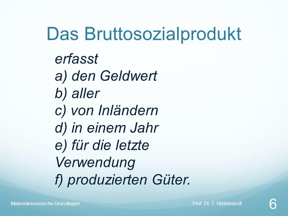 Das Bruttosozialprodukt erfasst a) den Geldwert b) aller c) von Inländern d) in einem Jahr e) für die letzte Verwendung f) produzierten Güter. Prof. D