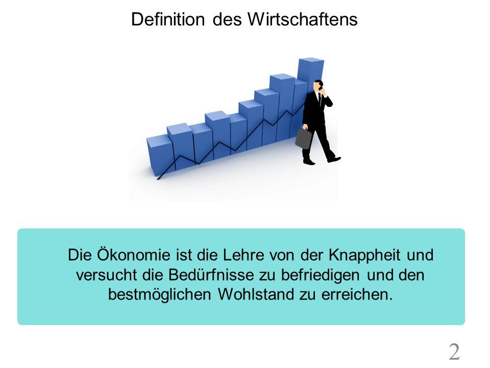 Definition des Wirtschaftens Die Ökonomie ist die Lehre von der Knappheit und versucht die Bedürfnisse zu befriedigen und den bestmöglichen Wohlstand