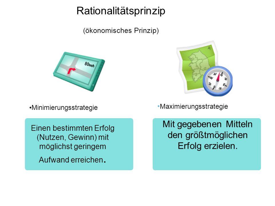 Rationalitätsprinzip (ökonomisches Prinzip) Minimierungsstrategie Einen bestimmten Erfolg (Nutzen, Gewinn) mit möglichst geringem Aufwand erreichen. 3