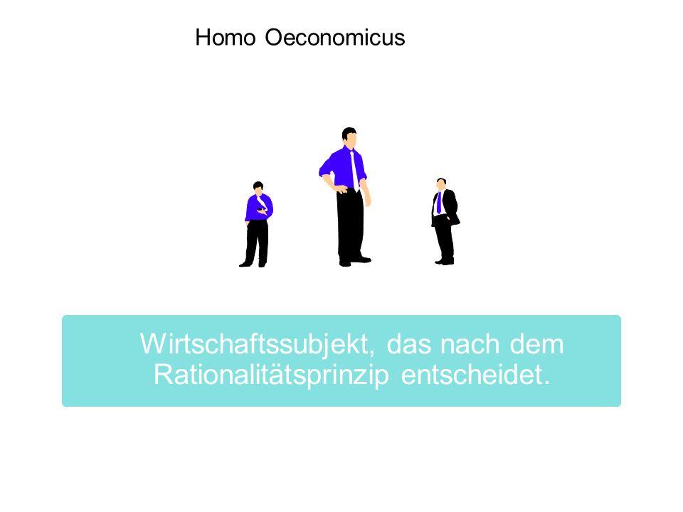 Homo Oeconomicus Wirtschaftssubjekt, das nach dem Rationalitätsprinzip entscheidet. 4