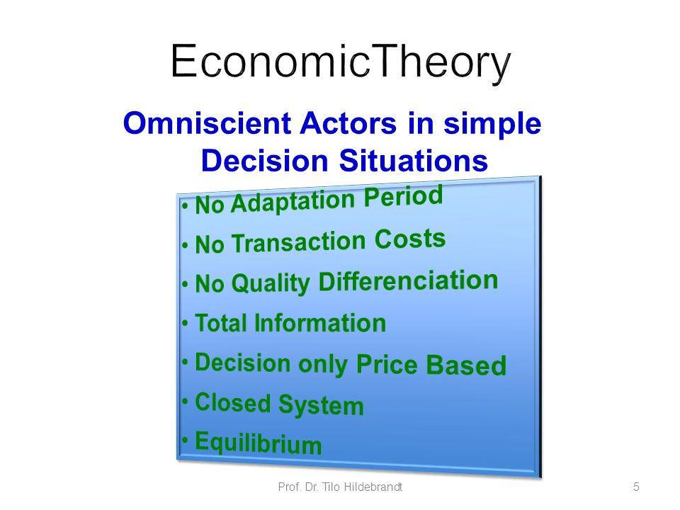 Omniscient Actors in simple Decision Situations Prof. Dr. Tilo Hildebrandt5