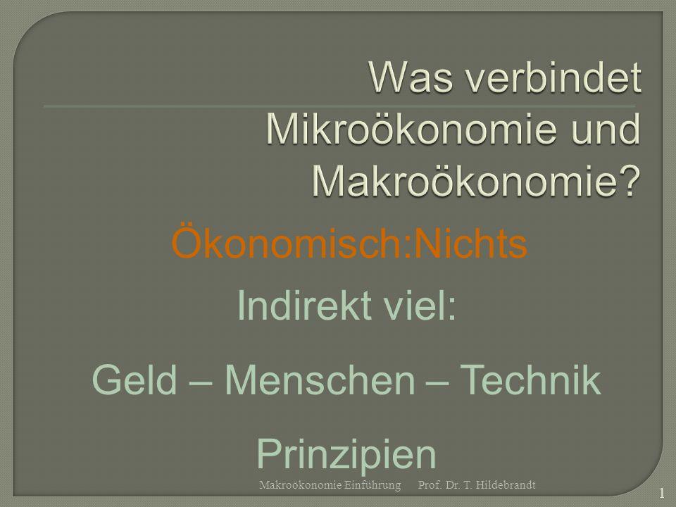 Ökonomisch:Nichts Indirekt viel: Geld – Menschen – Technik Prinzipien Prof. Dr. T. Hildebrandt 1 Makroökonomie Einführung
