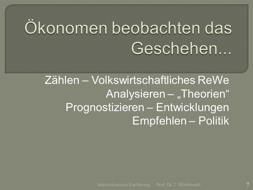 Zählen – Volkswirtschaftliches ReWe Analysieren – Theorien Prognostizieren – Entwicklungen Empfehlen – Politik Prof. Dr. T. Hildebrandt 7 Makroökonomi