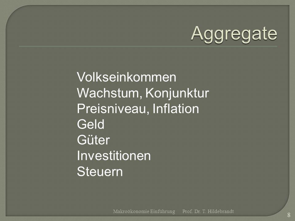 Volkseinkommen Wachstum, Konjunktur Preisniveau, Inflation Geld Güter Investitionen Steuern Prof. Dr. T. Hildebrandt 8 Makroökonomie Einführung