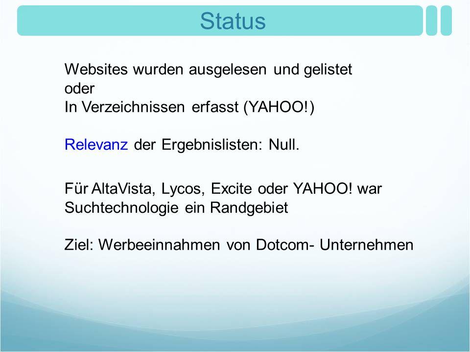 Status Für AltaVista, Lycos, Excite oder YAHOO! war Suchtechnologie ein Randgebiet Ziel: Werbeeinnahmen von Dotcom- Unternehmen Websites wurden ausgel