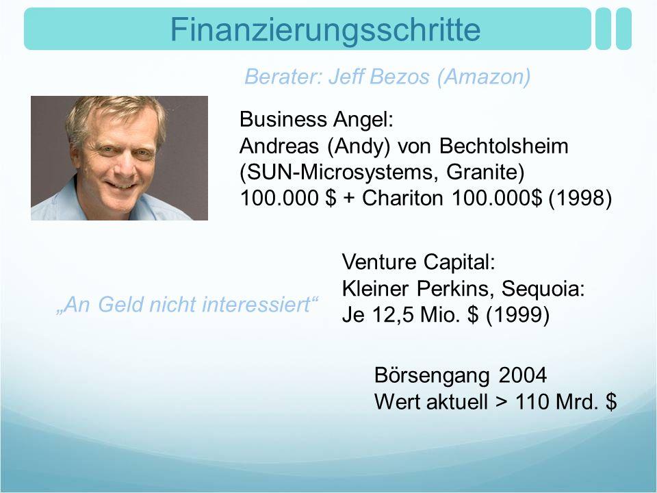 Finanzierungsschritte Business Angel: Andreas (Andy) von Bechtolsheim (SUN-Microsystems, Granite) 100.000 $ + Chariton 100.000$ (1998) Börsengang 2004
