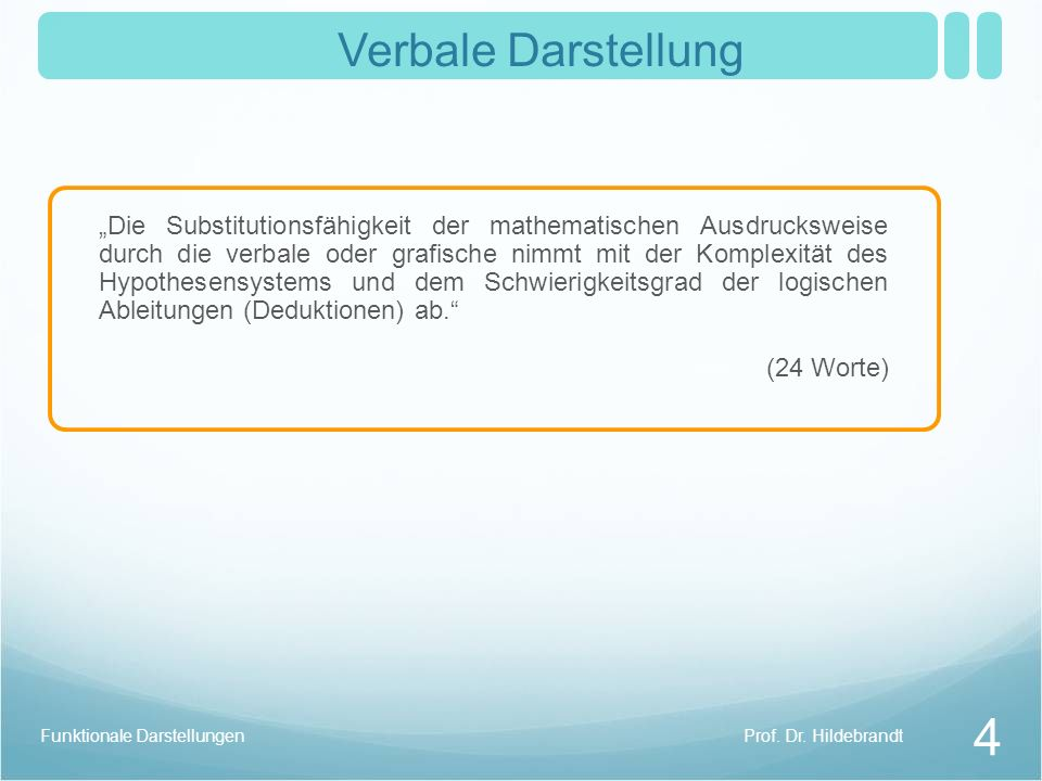 Prof. Dr. HildebrandtFunktionale Darstellungen 4 Verbale Darstellung Die Substitutionsfähigkeit der mathematischen Ausdrucksweise durch die verbale od