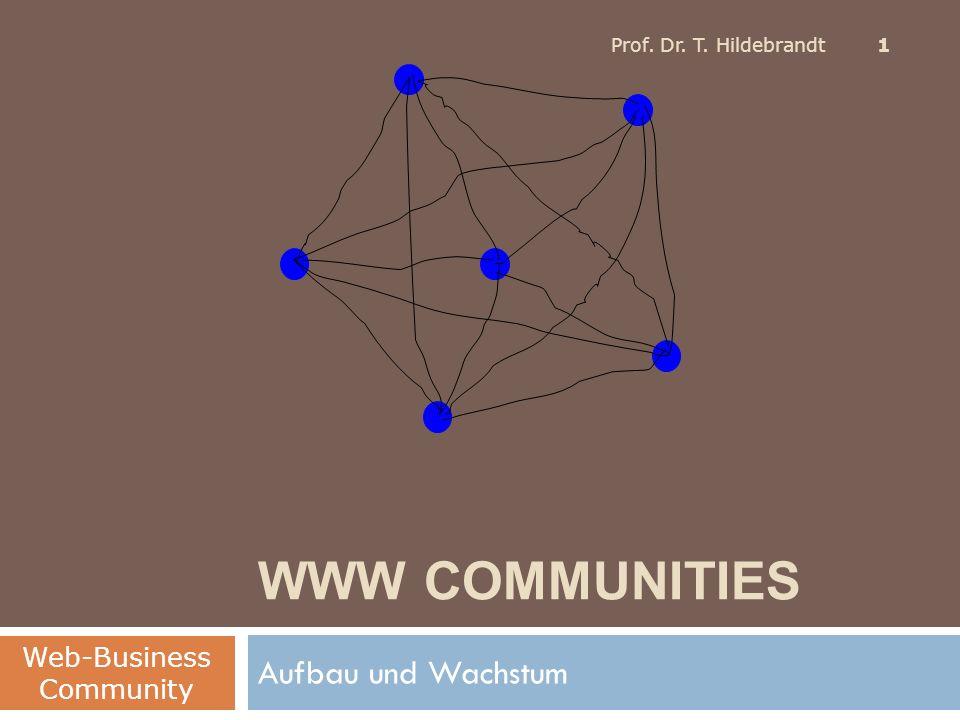 WWW COMMUNITIES Aufbau und Wachstum Web-Business Community Prof. Dr. T. Hildebrandt 1