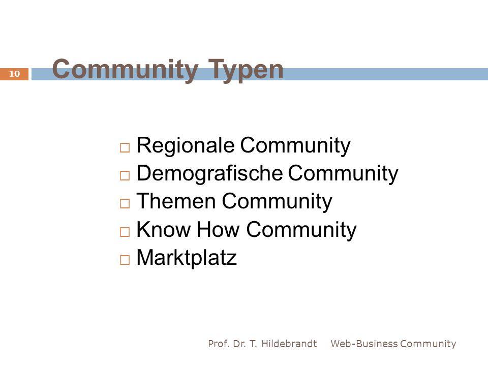 Community Typen Regionale Community Demografische Community Themen Community Know How Community Marktplatz Web-Business Community 10 Prof. Dr. T. Hild