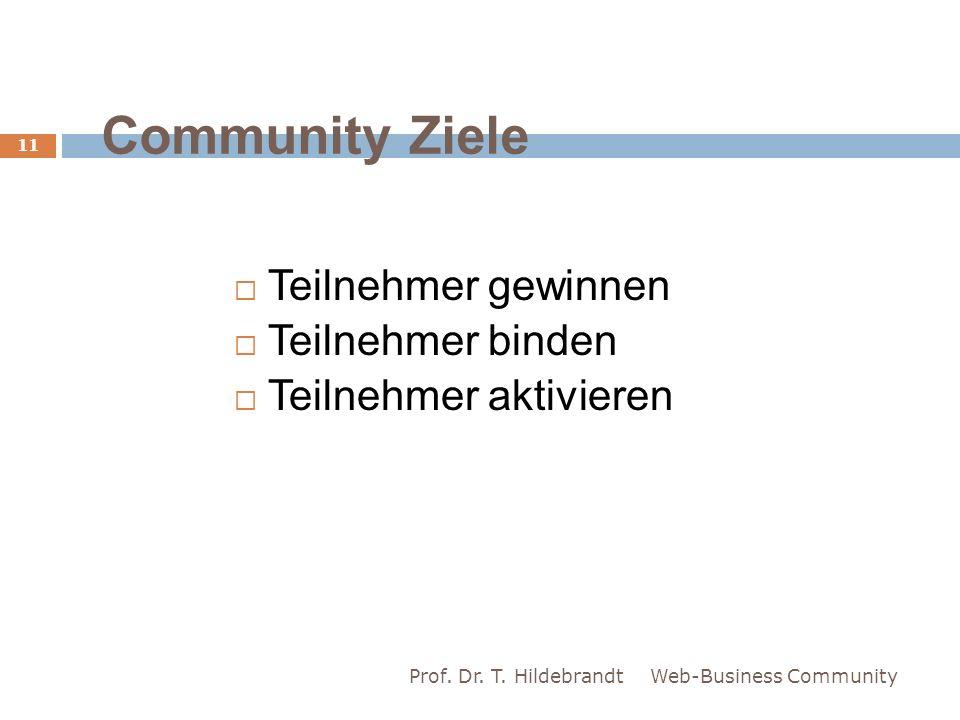 Community Ziele Teilnehmer gewinnen Teilnehmer binden Teilnehmer aktivieren Web-Business Community 11 Prof. Dr. T. Hildebrandt