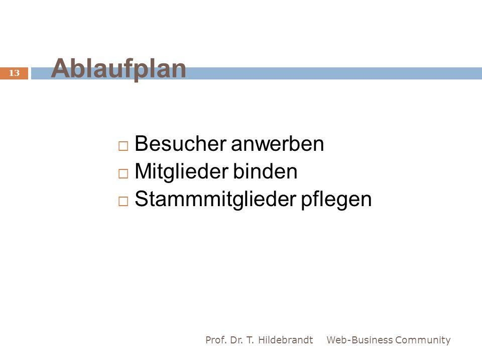Ablaufplan Besucher anwerben Mitglieder binden Stammmitglieder pflegen Web-Business Community 13 Prof. Dr. T. Hildebrandt