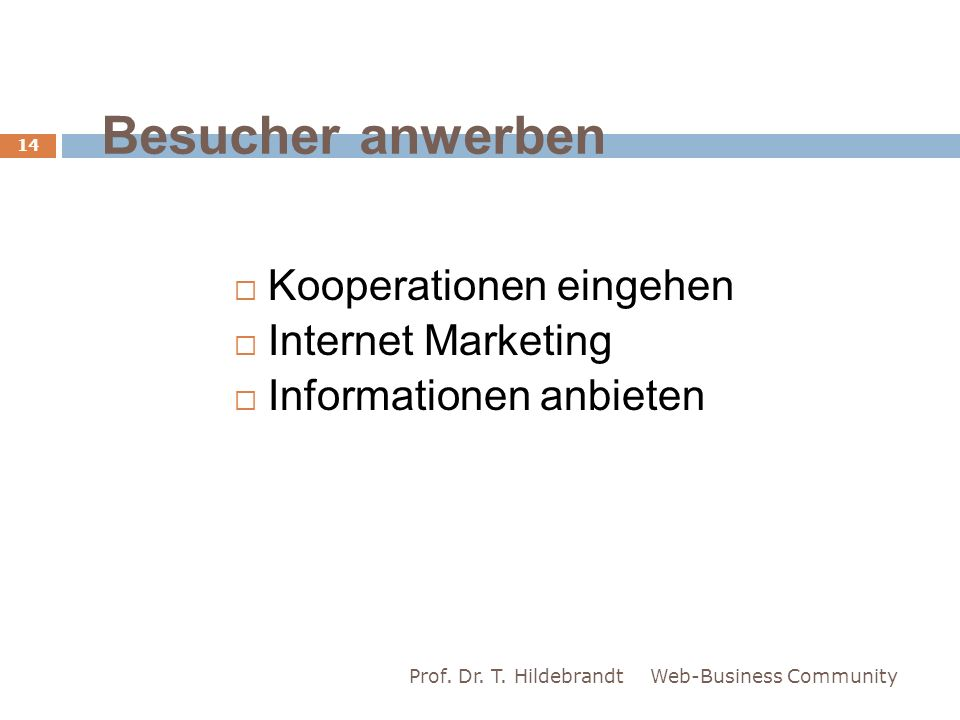 Besucher anwerben Kooperationen eingehen Internet Marketing Informationen anbieten Web-Business Community 14 Prof.