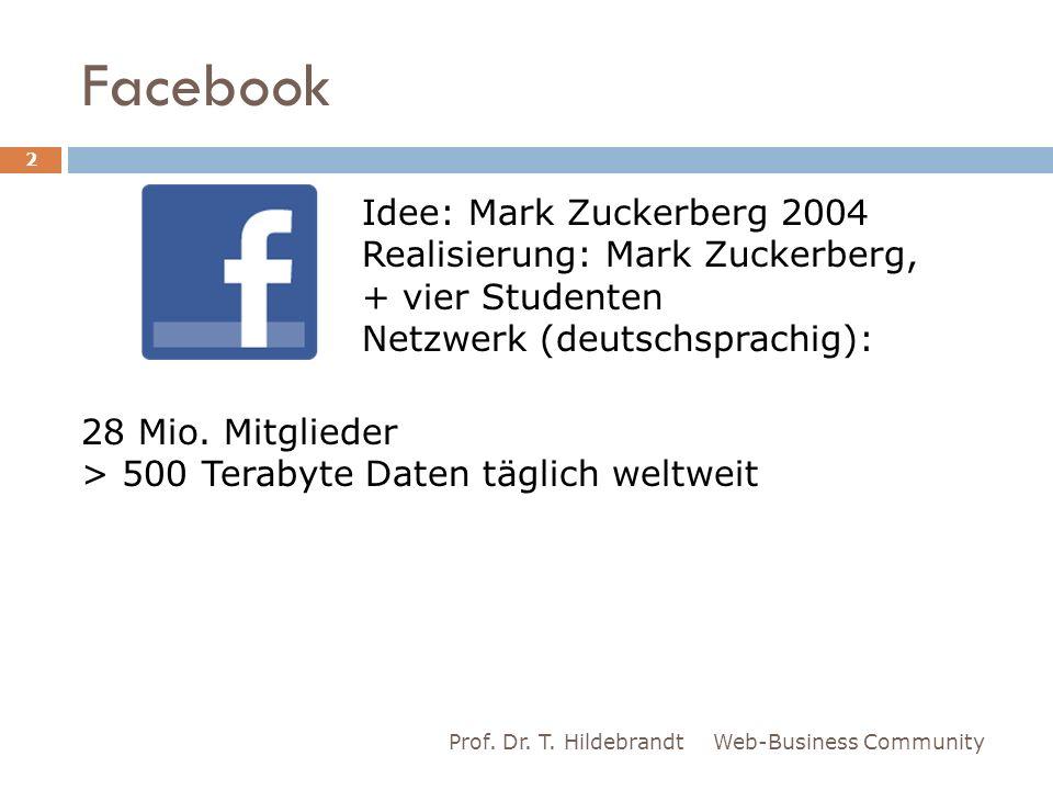 Facebook Web-Business CommunityProf. Dr. T. Hildebrandt 2 Idee: Mark Zuckerberg 2004 Realisierung: Mark Zuckerberg, + vier Studenten Netzwerk (deutsch