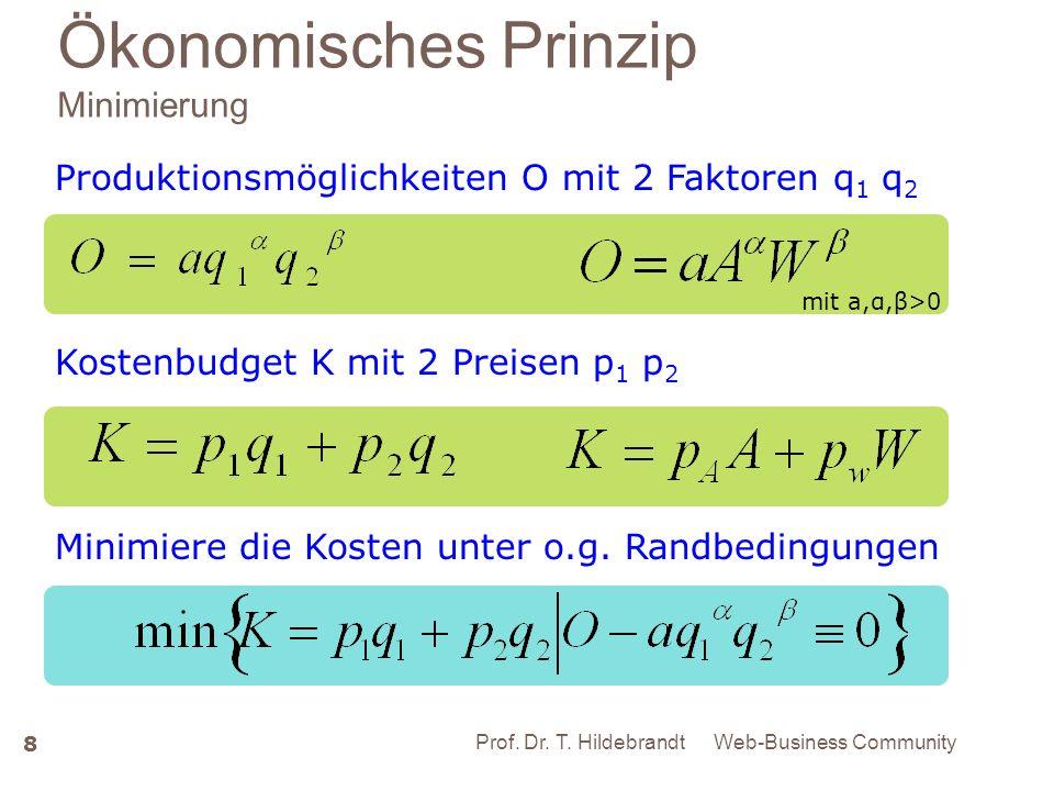 Ökonomisches Prinzip Minimierung 8 Minimalkostenkombination mit a,α,β>0 Web-Business Community 8 Prof. Dr. T. Hildebrandt Produktionsmöglichkeiten O m