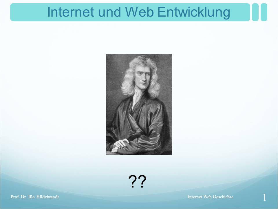 Internet und Web Entwicklung ?? Internet Web Geschichte 1 Prof. Dr. Tilo Hildebrandt