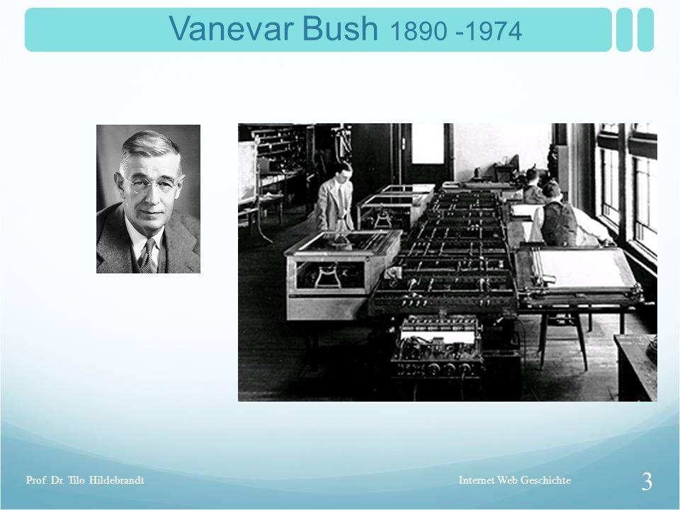 Vannevar Bush As We May Think (1945) Memex - Der Schreibtisch mit dem Bildschirm Internet Web Geschichte 2 Prof. Dr. Tilo Hildebrandt