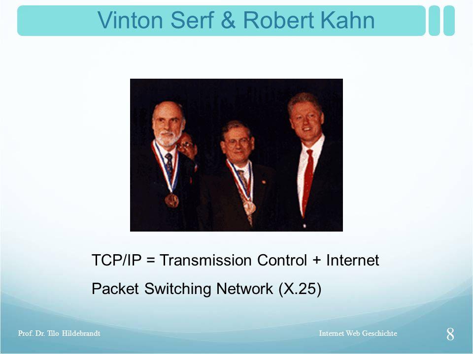 Vinton Serf & Robert Kahn TCP/IP = Transmission Control + Internet Packet Switching Network (X.25) Internet Web Geschichte 8 Prof.