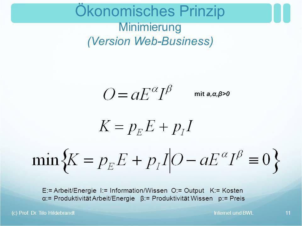 Internet und BWL(c) Prof. Dr. Tilo Hildebrandt 11 mit a,α,β>0 E:= Arbeit/Energie I:= Information/Wissen O:= Output K:= Kosten α:= Produktivität Arbeit