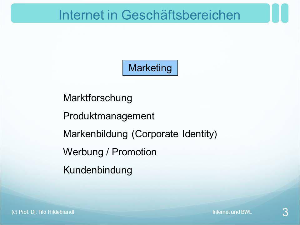 Internet in Geschäftsbereichen Marketing Marktforschung Produktmanagement Markenbildung (Corporate Identity) Werbung / Promotion Kundenbindung Interne