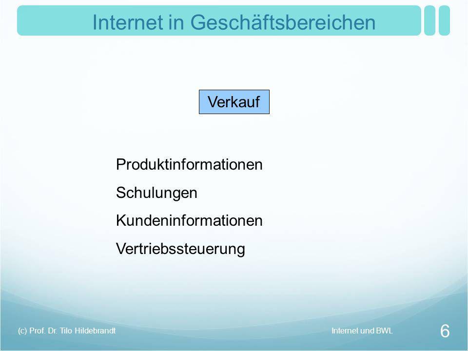 Internet in Geschäftsbereichen Verkauf Produktinformationen Schulungen Kundeninformationen Vertriebssteuerung Internet und BWL 6 (c) Prof. Dr. Tilo Hi