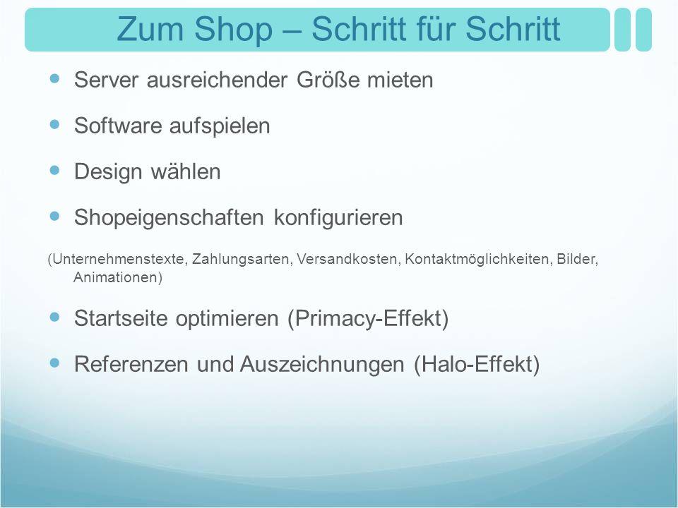 Zum Shop – Schritt für Schritt Server ausreichender Größe mieten Software aufspielen Design wählen Shopeigenschaften konfigurieren (Unternehmenstexte,